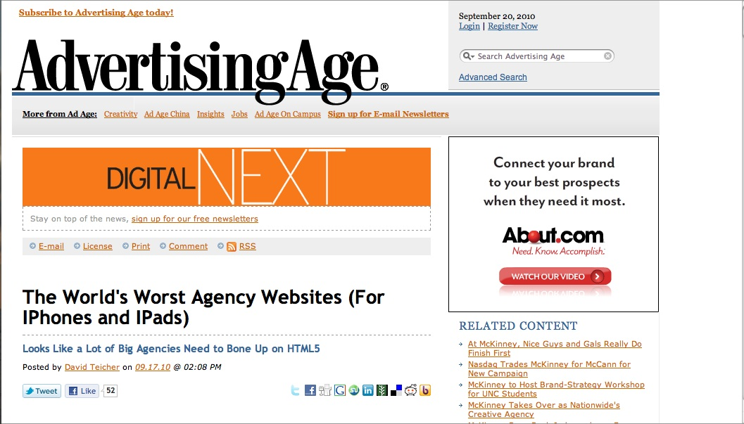 Ad Age: A List of the Worst Agency Websites for IPhones and IPads ...